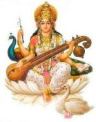 An iconic representation of Goddess Saraswati