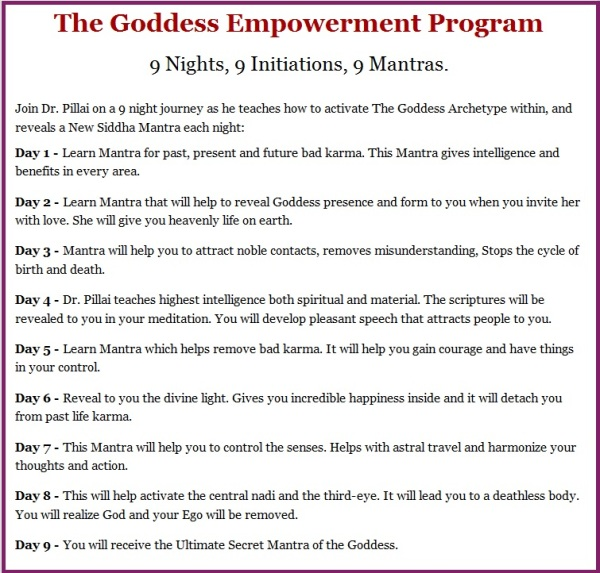 9 Nights Initiation Mantras