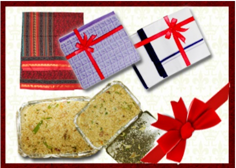 Diwali Gift Pack consists of a hot meal for an adult and a child and clothes for 1 adult and 1 child