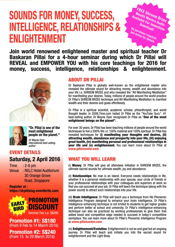 Dr Pillai SG April 2016 Seminar (Front)(H)
